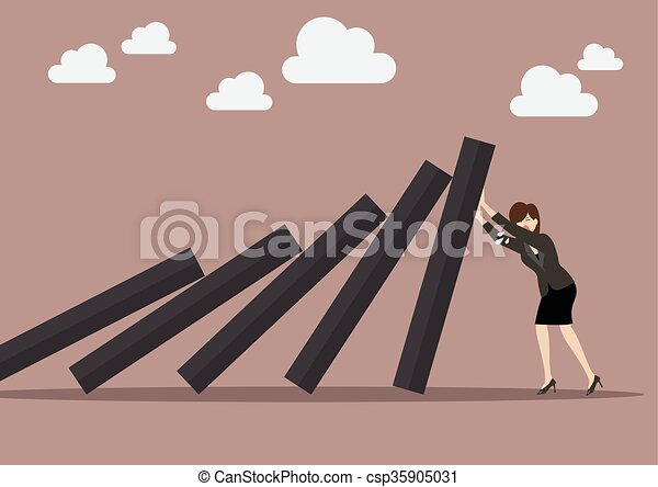Business woman pushing hard against falling deck of domino tiles - csp35905031