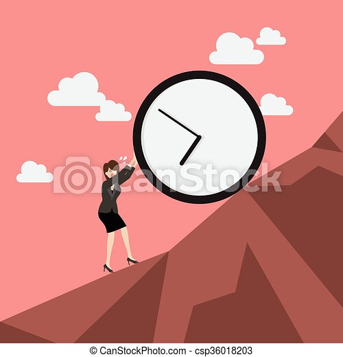 Business woman pushing huge clock uphill - csp36018203