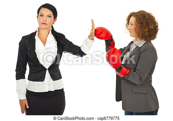 Business woman refuse fight - csp6779775