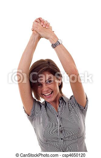 business woman rejoicing success - csp4650120