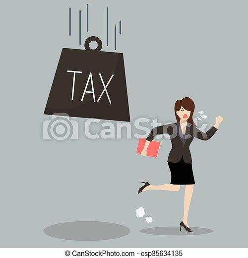 Business woman run away from heavy tax - csp35634135