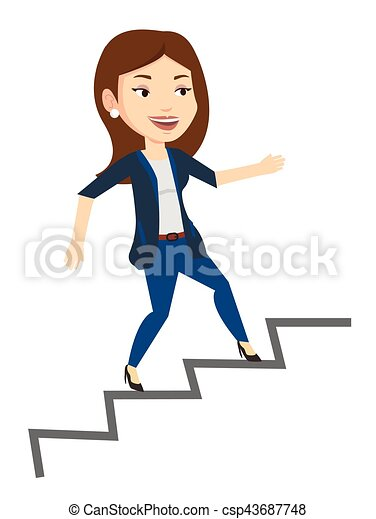 young caucasian business woman running up the career ladder eps rh canstockphoto ca