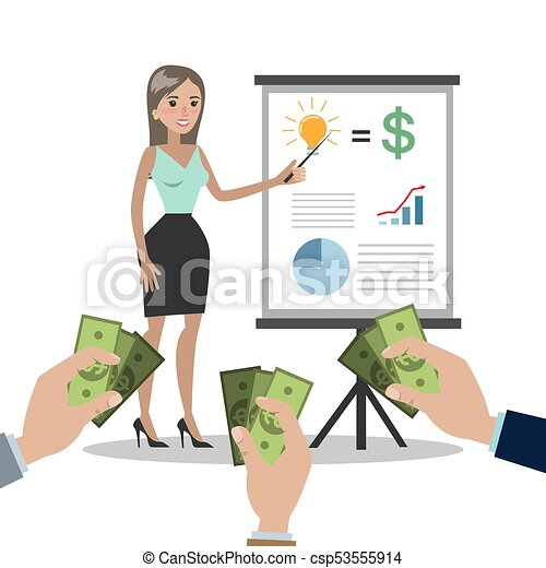Business woman selling idea. - csp53555914
