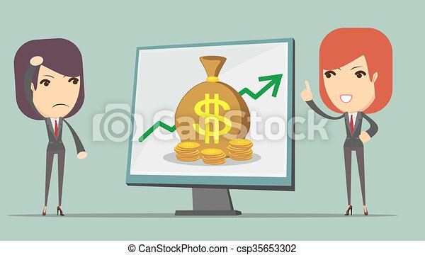 Business woman showing on the board - csp35653302