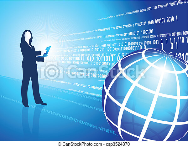 business woman silhouette on digital background - csp3524370