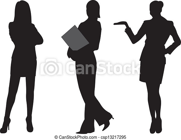 Business woman silhouette vector illustration.