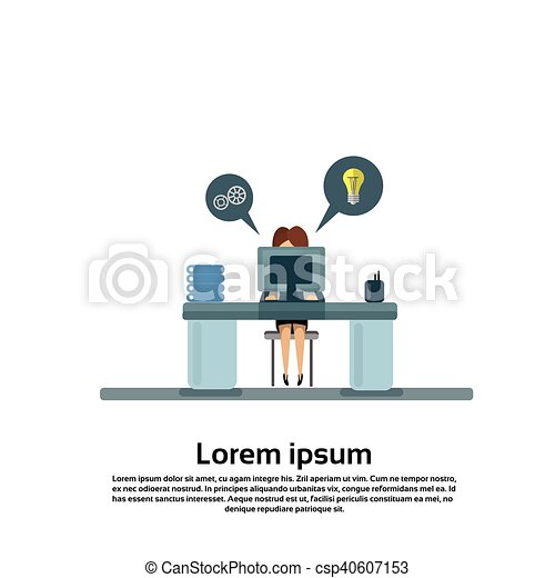 Business Woman Sitting at Desk in Office Working Computer - csp40607153
