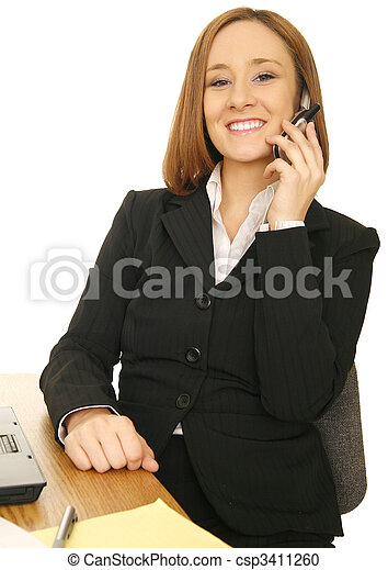 Business Woman Sitting By Desk - csp3411260