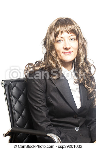 Business woman sitting in chair isolated over white background - csp39201032