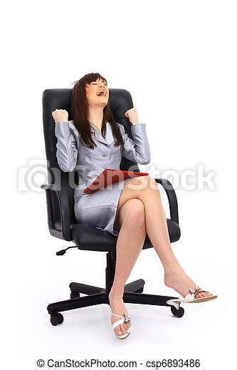 business woman sitting on a chair isolated over white - csp6893486