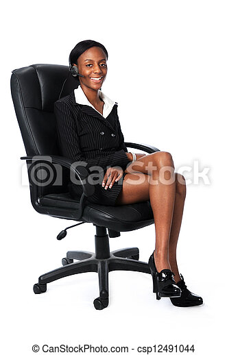 Business Woman Sitting on Chair - csp12491044