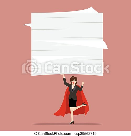 Business woman superhero lifting a lot of documents - csp39562719