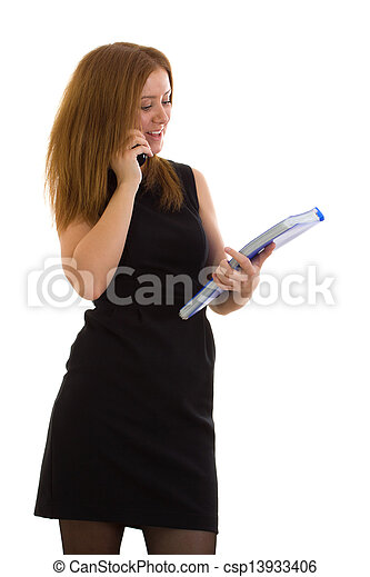 Business woman talking on the phone - csp13933406