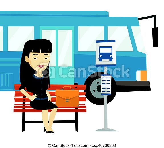 asian business woman waiting at the bus stop young business clip rh canstockphoto com bus stop sign clipart london bus stop clipart