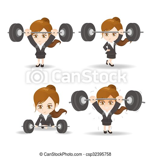 Business woman weight lifting - csp32395758