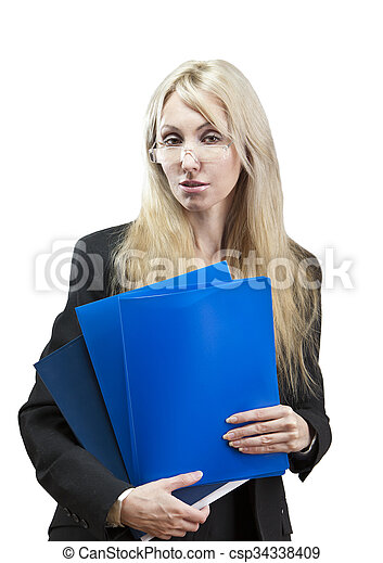 business woman with a folder for do - csp34338409
