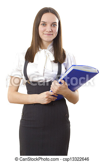 Business woman with a folder - csp13322646