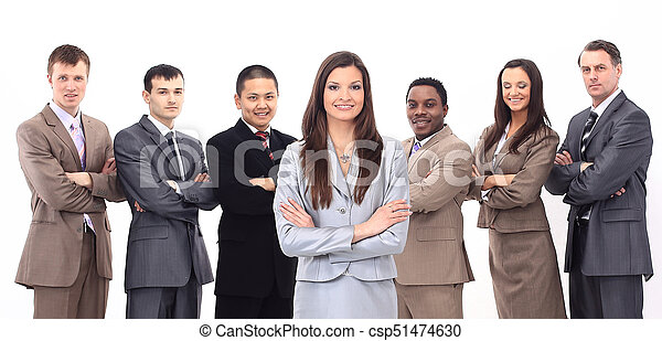 business woman with a multi-ethnic business team - csp51474630