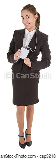 business woman with blank badge - csp3218067