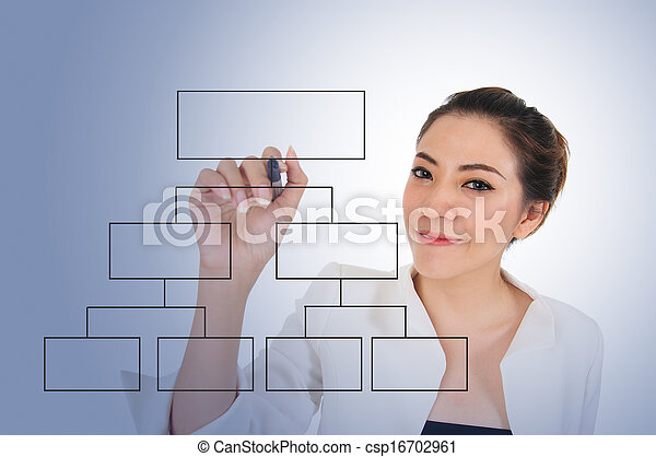 Business woman with blank diagram - csp16702961