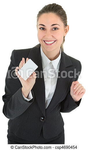 business woman with blank payment card - csp4690454