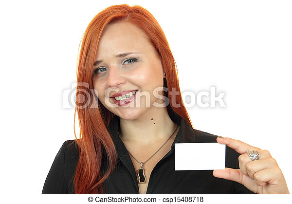 business woman with business card - csp15408718
