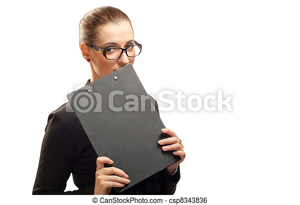 Business woman with clipboard isolated on white - csp8343836