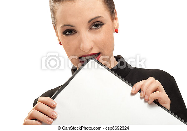Business woman with clipboard isolated on white - csp8692324