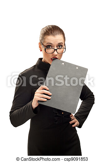 Business woman with clipboard isolated on white - csp9091853