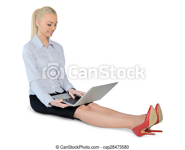 Business woman with computer - csp28473580