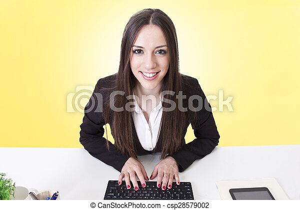 business woman with computer - csp28579002