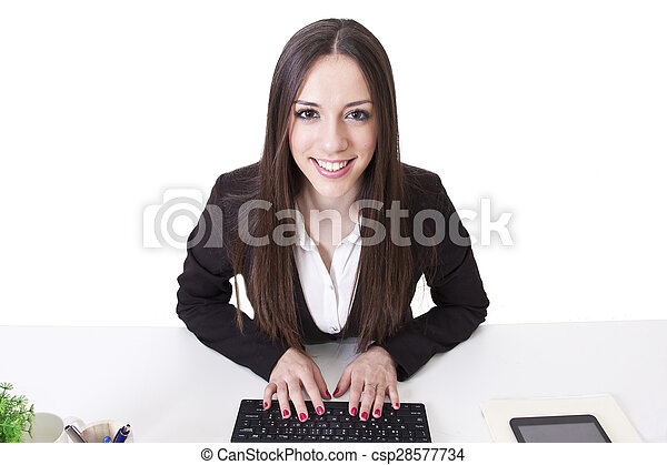 business woman with computer - csp28577734