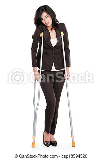 business woman with crutches - csp18594520