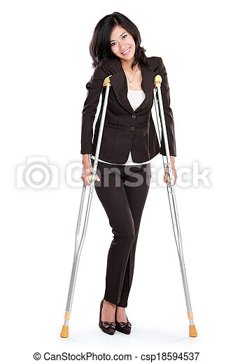 business woman with crutches - csp18594537