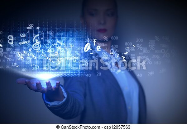 Business woman with financial symbols around - csp12057563