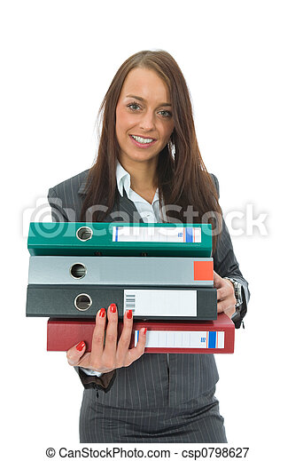 Business woman with folder - csp0798627