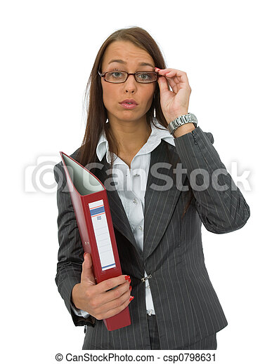 Business woman with folder - csp0798631