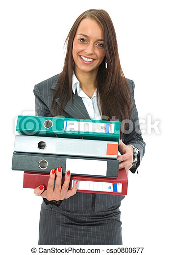 Business woman with folder - csp0800677
