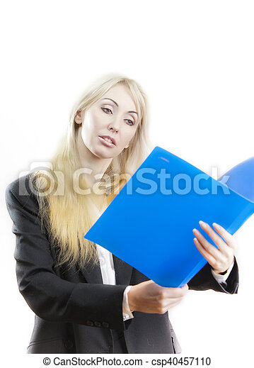 business woman with folder - csp40457110