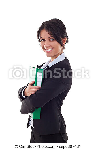 Business woman with folder - csp6307431