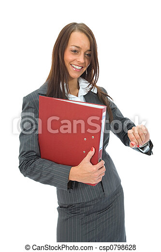 Business woman with folder - csp0798628