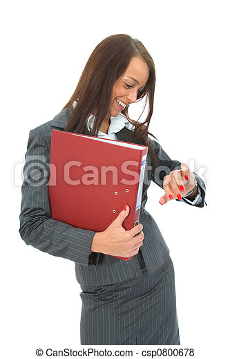 Business woman with folder - csp0800678