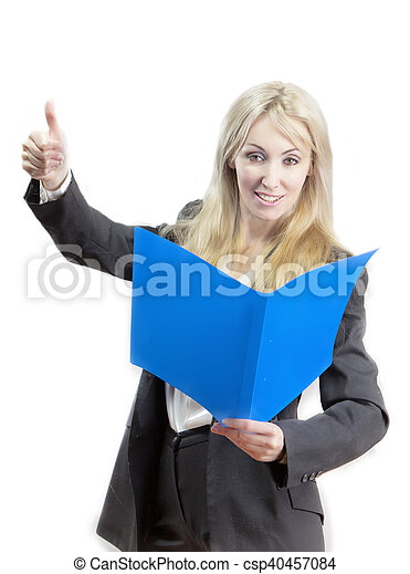 business woman with folder - csp40457084