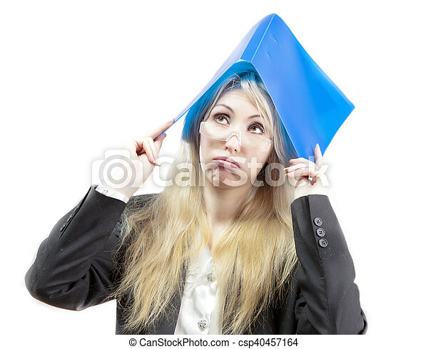 business woman with folder - csp40457164