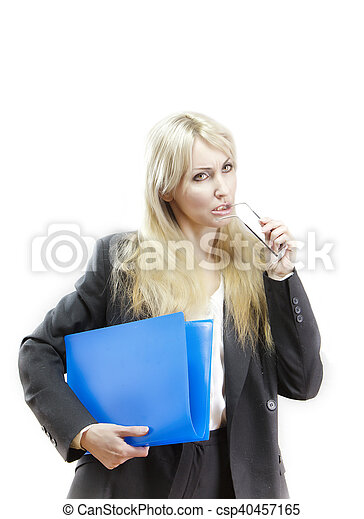 business woman with folder - csp40457165