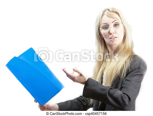 business woman with folder - csp40457156