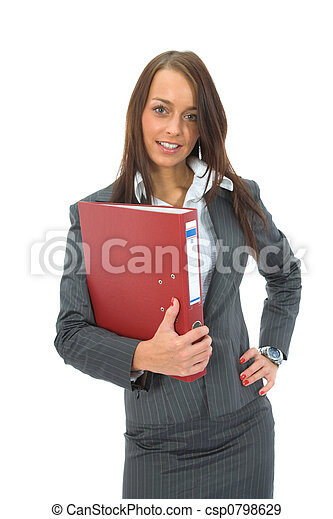 Business woman with folder - csp0798629