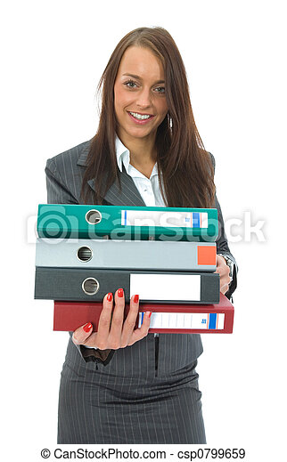 Business woman with folder - csp0799659