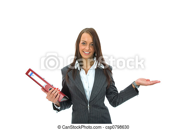 Business woman with folder - csp0798630