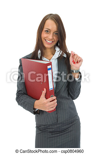 Business woman with folder - csp0804960